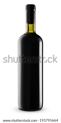 Bottle red wine isolated on white background  -Clipping Path - stock photo