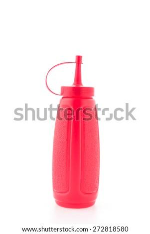 Bottle sauce isolated on white background - stock photo