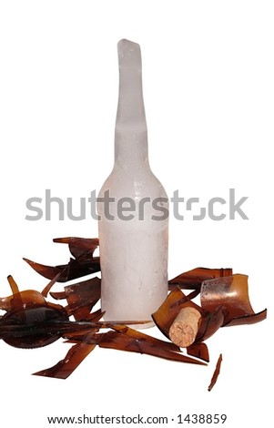 Bottle Shattered by Frozen Water - stock photo