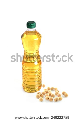 Bottle soybean oil  isolated on white background - stock photo