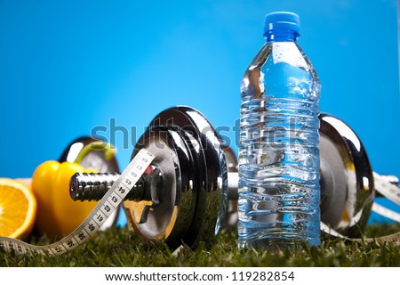 Bottle water and Fitness - stock photo