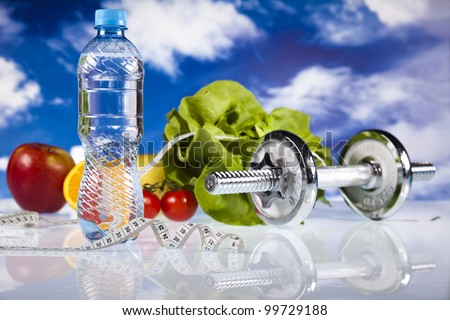 Bottle water and Fitness, and blue sky - stock photo