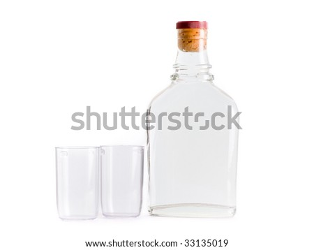bottle whiskey isolated on the white background