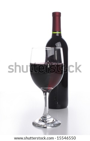 Bottle with a glass of red wine