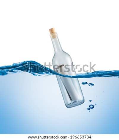 Bottle with a letter in the water on a white background - stock photo