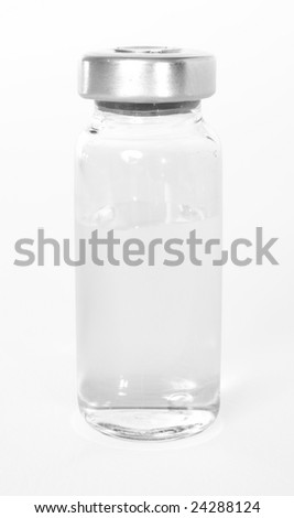 Bottle with a medical product, a transparent liquid