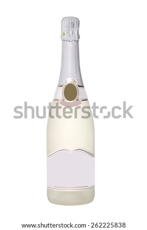 bottle with a white sparkling wine, isolated on white background.
