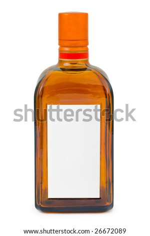 Bottle with blank label isolated on white background - stock photo