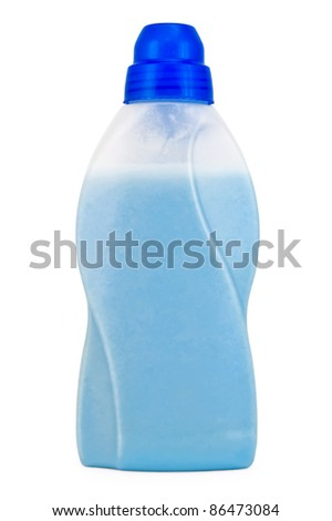 Bottle with blue cleaning fluid and mitigate isolated on a white background