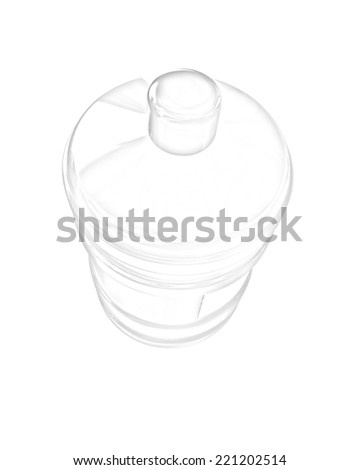 Bottle with clean blue water on a white background. Pencil drawing  - stock photo