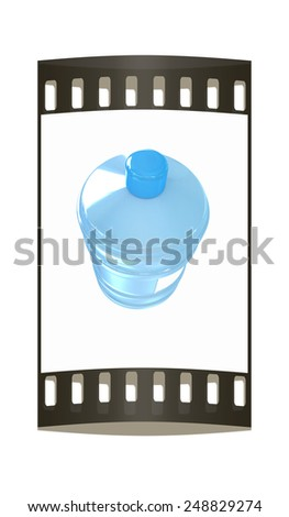 Bottle with clean blue water on a white background. The film strip - stock photo