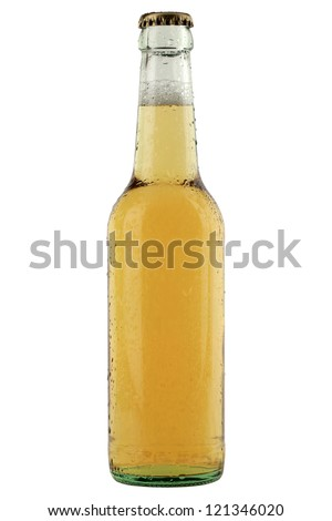 Bottle with cold beer and waterdrops on it isolated on white background