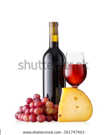 Bottle with glass of red wine and cheese isolated on white background