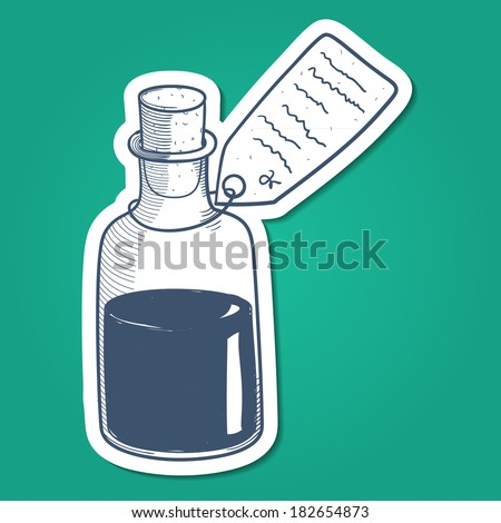 Bottle with liquid mixture sketch sticker element for medical or health care design