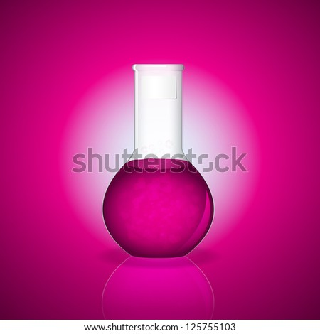 Bottle with magic bubbling mixture with heart as love potion