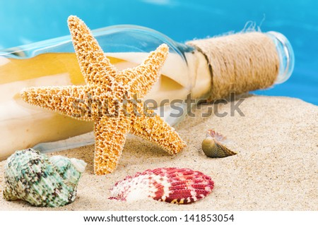 Bottle with message and shells on sand. Vacation concept - stock photo