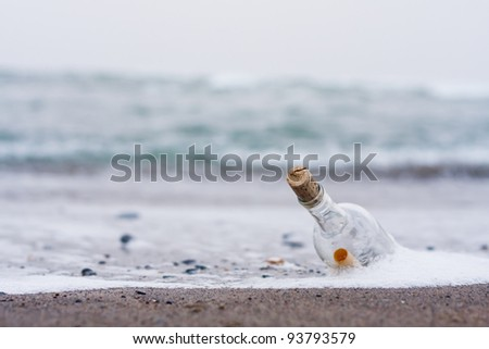 bottle with message on the beach