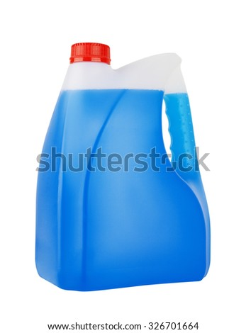 Bottle with non-freezing cleaning liquid isolated on white background - stock photo