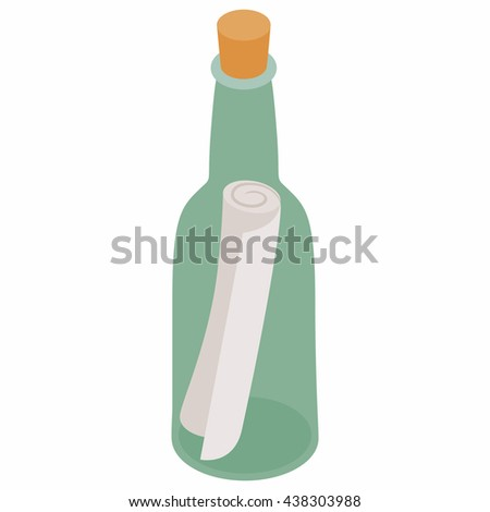 Bottle with note icon, isometric 3d style