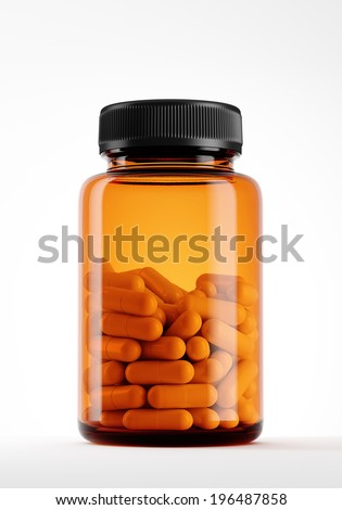 bottle with pills isolated on white.  - stock photo