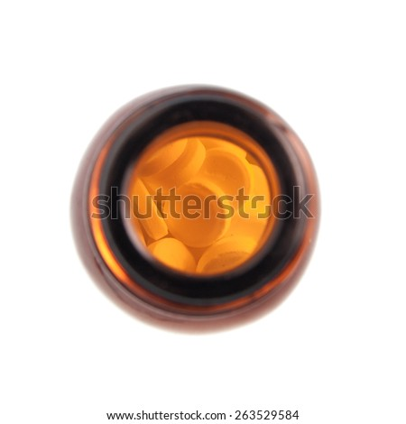 Bottle with pills top view - stock photo