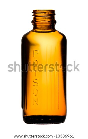 Bottle with poisonous drug over white background