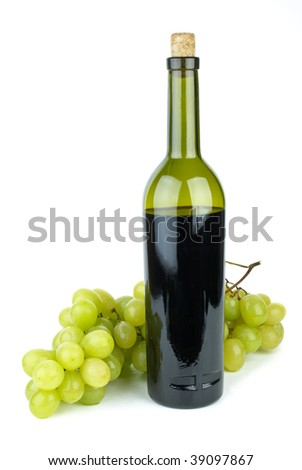 Bottle with red wine and green grapes near isolated on the white background