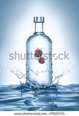 bottle with splashes and strawberries. see more on my page