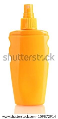 Bottle with suntan cream isolated on white - stock photo