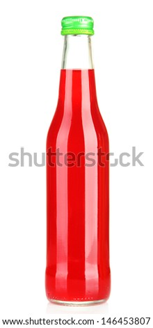Bottle with tasty drink, isolated on white