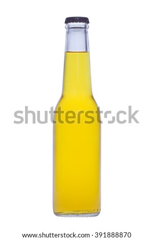 Bottle with yellow liquid on white background