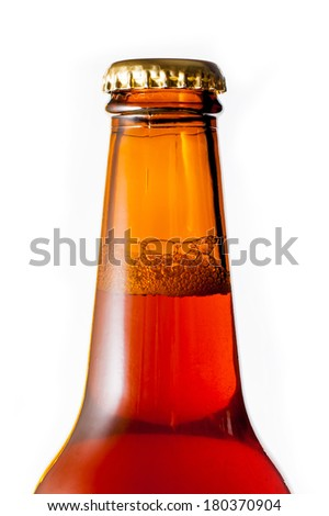 Bottled beer. Czech amber ale. - stock photo
