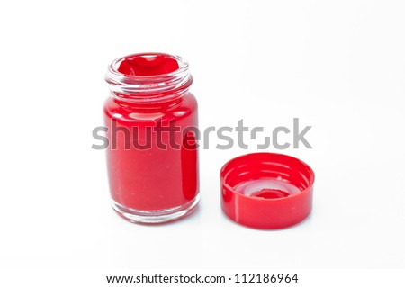 Bottled Red water color on a white background. - stock photo
