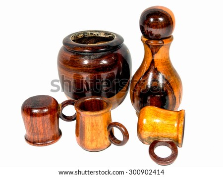 Bottles and glasses made of teak