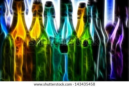 Bottles Digital Painting - stock photo