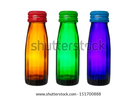 bottles isolated on white background with clipping path - stock photo