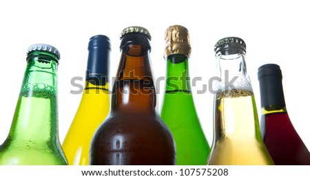 bottles of beer and wine - stock photo