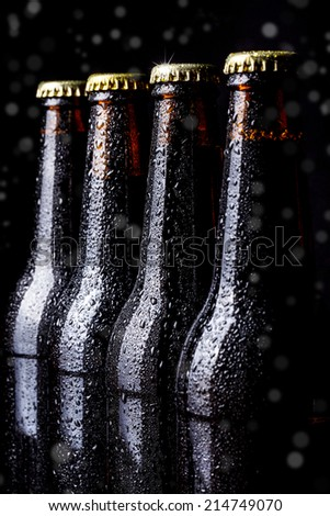 Bottles of beer on a black background - stock photo
