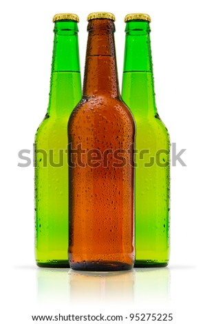 bottles of beer on white background - stock photo