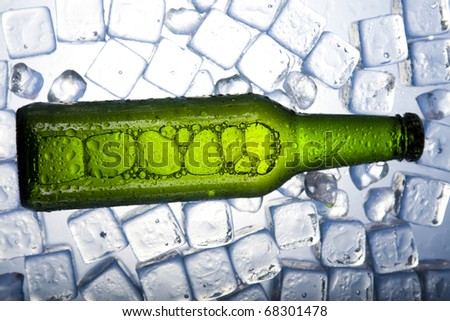 Bottles Of Beer, Three fresh beer with ice - stock photo