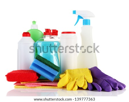 Bottles of dishwashing liquid and kitchen cleaners, isolated on white