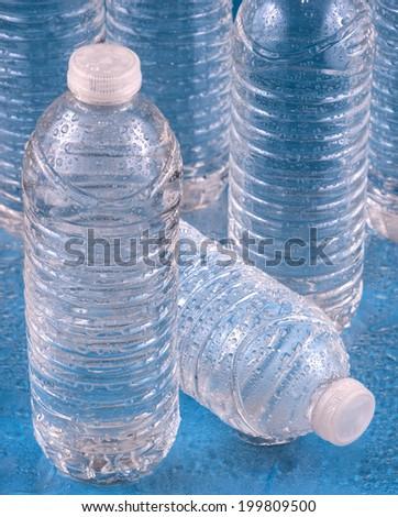 bottles of drinking water - stock photo