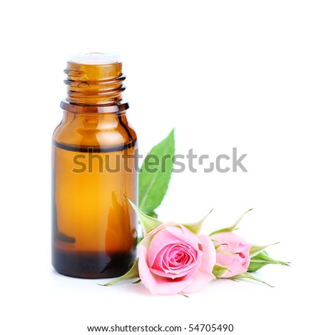 bottles of essential oil and pink rose  white isolated background