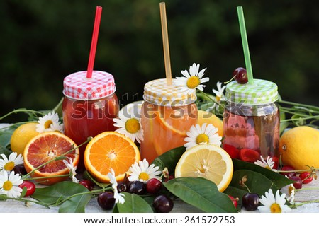 Bottles of freshly squeezed orange and berry juice standing on a tray with fresh fruits, green leaves and flowers daisies