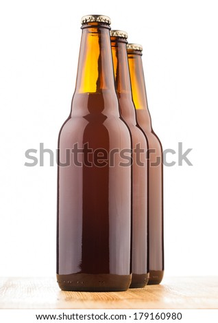bottles of home made  beer on table