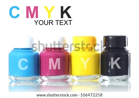 bottles of ink in cmyk colors - stock photo