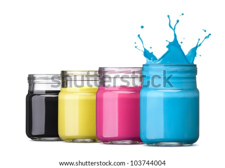 bottles of ink in cmyk colors, cyan with splash