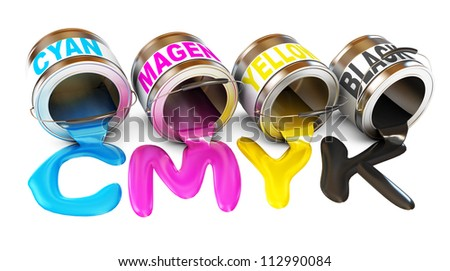 Bottles of ink in cmyk colors. Paint is poured from a can. Isolated on white background. 3d render - stock photo