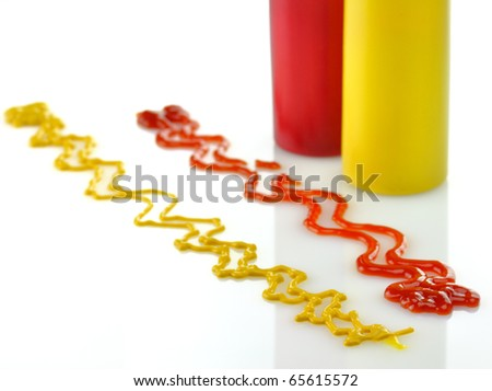 Bottles of Ketchup and Mustard. - stock photo