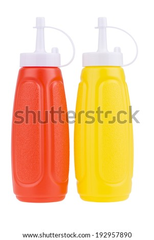 Bottles of Ketchup and Mustard. Isolated on White. - stock photo